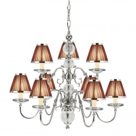 Tilburg Large 9 Light Chandelier in Polished Nickel Finish with Brown Pleated Shades