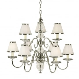 Tilburg Large 9 Light Chandelier in Polished Nickel Finish with White Faux Silk Shades