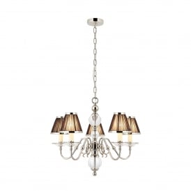 Tilburg Medium 5 Light Chandelier in Polished Nickel with Black Pleated Shades