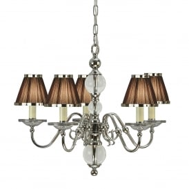 Tilburg Medium 5 Light Chandelier in Polished Nickel with Brown Pleated Shades
