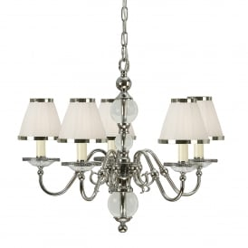 Tilburg Medium 5 Light Chandelier in Polished Nickel with White Faux Silk Shades