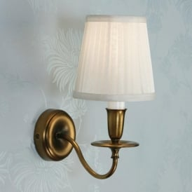 Venus Single Light Wall Fitting in Antique Brass with White Pleated Shade