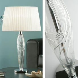 Wenceslas Crystal Single Light Table Lamp with White Pleat Shade
