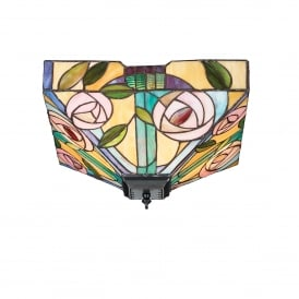 Willow 2 Light Flush Ceiling Fitting In Bronze Finish With Tiffany Glass Shade