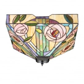 Willow 2 Light Large Flush Ceiling Fitting In Bronze Finish With Tiffany Glass Shade