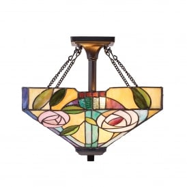 Willow 2 Light Semi Flush Ceiling Fitting In Bronze Finish With Tiffany Glass Shade