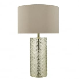 Ipanima Single Light Table Lamp Gold Silver Finish With Taupe Faux Silk Shade