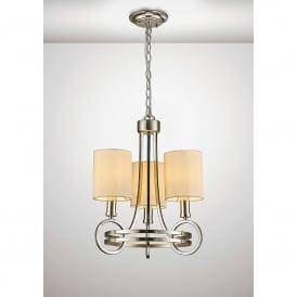 Isabella 3 Light Ceiling Pendant In Antique Silver Finish With Beige Shades