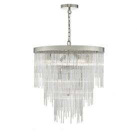 Isla 7 Light Tiered Ceiling Pendant in Polished Chrome Finish with Clear Glass