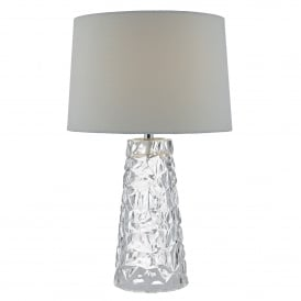 Jafar Single Light Table Lamp in Glass Complete with Ivory Faux Silk Shade