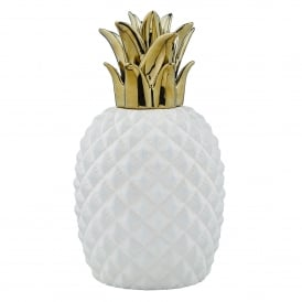 Jai Single Light Ceramic Table Lamp in White and Gold Finish