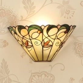 Jamelia Single Light Wall Uplighter with Floral Tiffany Design