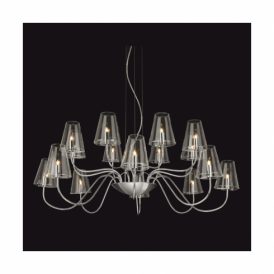 Jasmine 16 Light Ceiling Pendant In Polished Chrome Finish With Clear Glass Shades