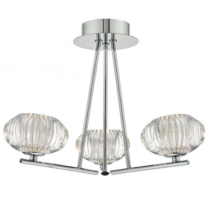 Dar Lighting Jensine 3 Light Semi Flush Ceiling Fitting in Polished Chrome Finish with Glass