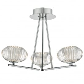 Jensine 3 Light Semi Flush Ceiling Fitting in Polished Chrome Finish with Glass