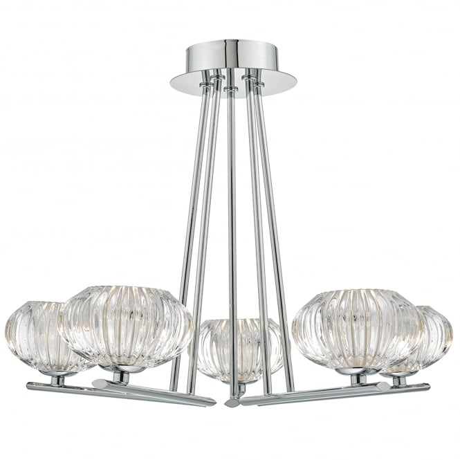 Dar Lighting Jensine 5 Light Semi Flush Ceiling Fitting in Polished Chrome Finish with Ribbed Glass