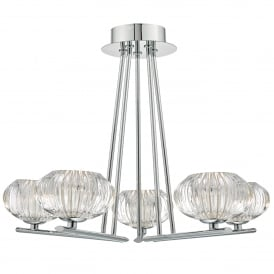 Jensine 5 Light Semi Flush Ceiling Fitting in Polished Chrome Finish with Ribbed Glass