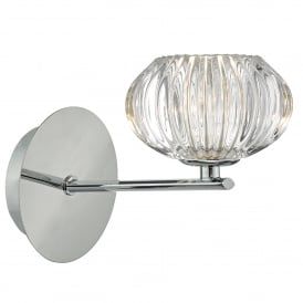 Jensine Single Light Wall Fitting in Polished Chrome Finish Complete with Glass Shade