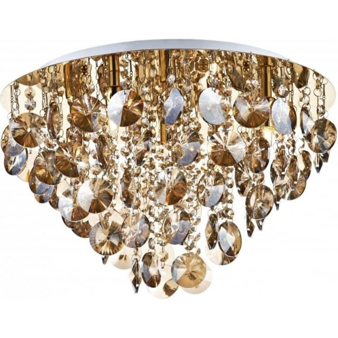 Dar Lighting Jester 5 Light Semi Flush Ceiling Fitting In Antique Gold Finish With Amber Crystal Decoration