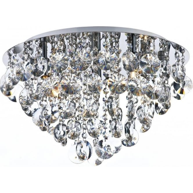 Dar Lighting Jester 5 Light Semi Flush Ceiling Fitting In Polished Chrome Finish With Clear Crystal Decoration
