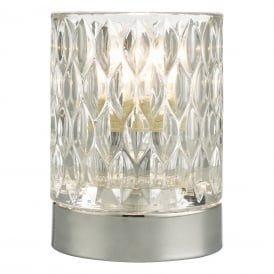 Jill Single Light Touch Table Lamp in Polished Chrome Finish with Glass