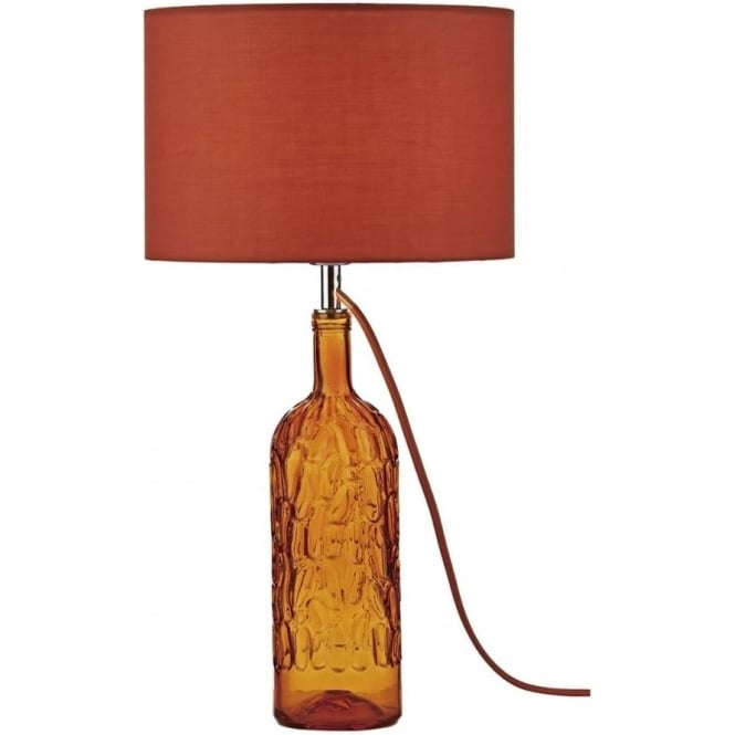 Dar Lighting Jordan Single Light Table Lamp in Orange Stained Glass Finish with Shade