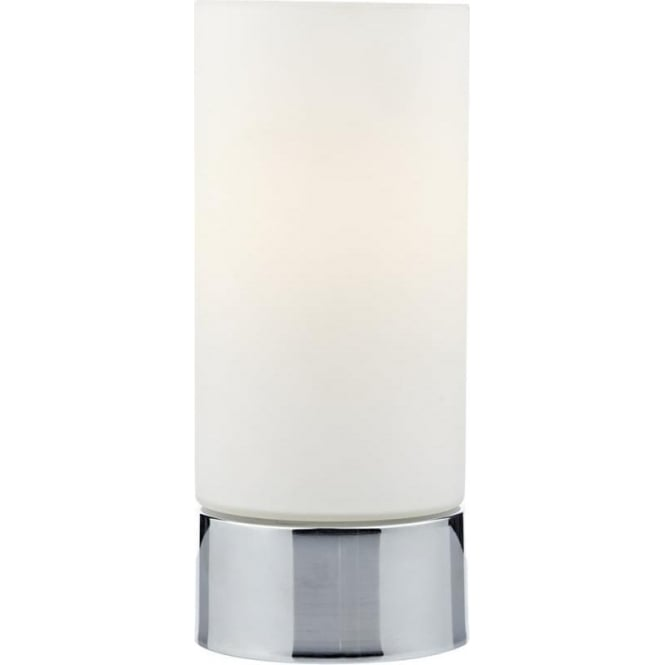 Dar Lighting Jot Single Light Touch Table Lamp in Polished Chrome Finish with White Opal Glass Shade