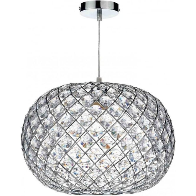 Dar Lighting Juanita Large Ceiling Light Pendant Shade In Polished Chrome Finish With Acrylic Decoration