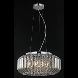 Juliet 6 Light Crystal Celing Pendant in Polished Chrome with Crystal Decoration