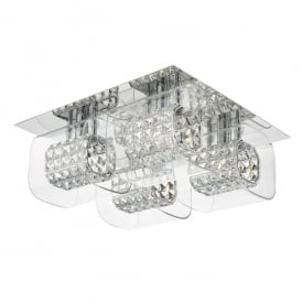 Kabuki 4 Light Flush Ceiling Fitting in Polished Chrome Finish with Crystal and Glass
