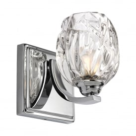 Kalli Single LED Bathroom Wall Light in Polished Chrome Finish Complete with Glass Shade