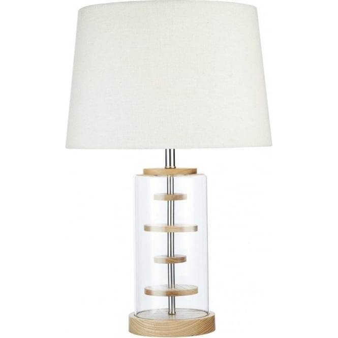 Dar Lighting Kao Single Light Clear Table Lamp with Wooden Detail and Cream Shade
