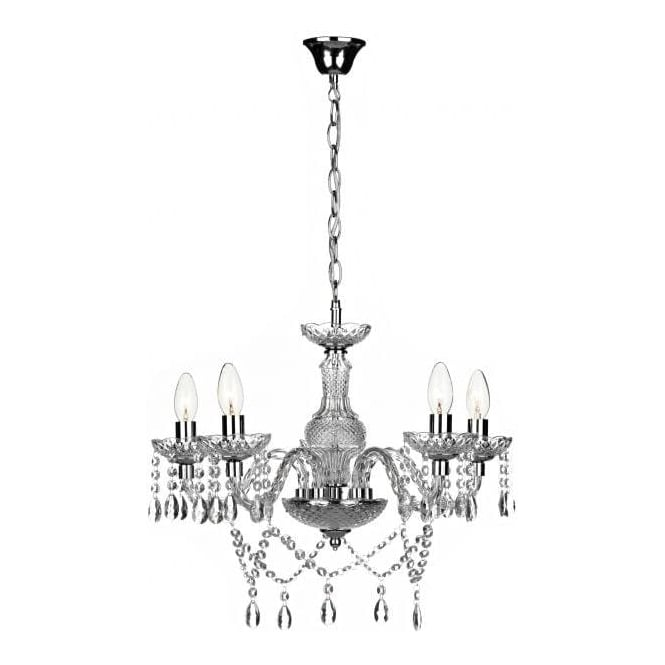 Dar Lighting Katie 5 Light Ceiling Chandelier Fitting In Polished Chrome And Acrylic Finish