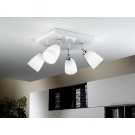 Katoro 4 Light Halogen Ceiling Fitting In White Glass Finish