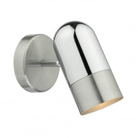 Kazan Single Light Switched Wall Fitting In Satin And Polished Chrome Finish