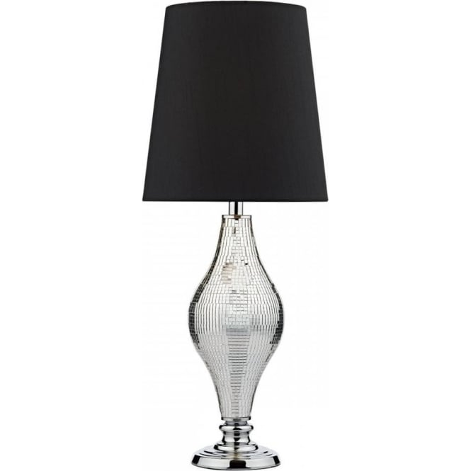 Dar Lighting Kelly Single Light Table Lamp In In Polished Chrome Finish With Silver Mirror Mosiac Detail And Black Faux Silk
