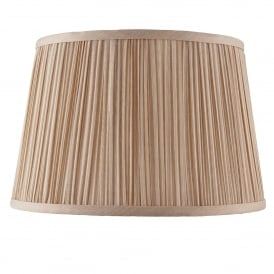Kemp 12 Inch Shade With Pleated Beige Faux Silk Fabric