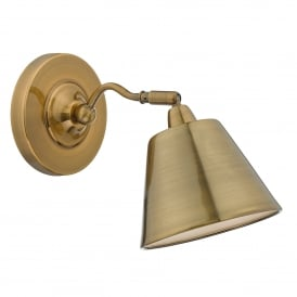 Kempten Single Light Wall Fitting in Antique Brass Finish