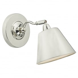 Kempten Single Light Wall Fitting in Polished Nickel Finish