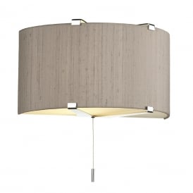 Kennedy Single Light Wall Fitting In Polished Chrome Finish With 100% Truffle Silk Shade