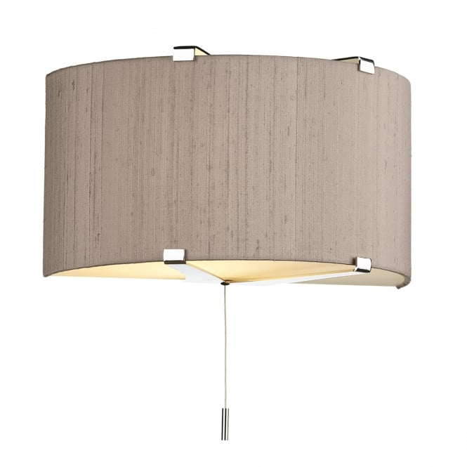 Dar Lighting Kennedy Single Light Wall Fitting In Polished Chrome Finish With Taupe Silk Shade