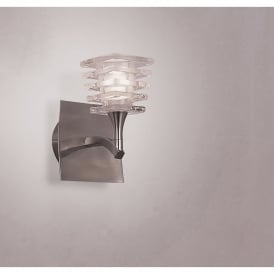 Keops Single Light Switched Wall Fitting in Satin Nickel Finish