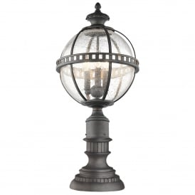 Kichler Halleron 3 Light Outdoor Pedestal Lantern In Londonderry Finish