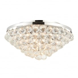 Kiera 4 Light Flush Ceiling Fitting in Polished Chrome Finish with Faceted Crystal