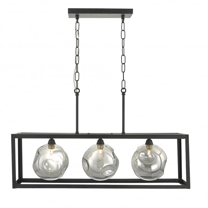 Dar Lighting Kieran 3 Light Ceiling Bar Pendant in Black Finish with Smoked Glass