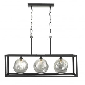 Kieran 3 Light Ceiling Bar Pendant in Black Finish with Smoked Glass