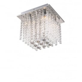 Kimi 4 Light Semi-Flush Ceiling Fitting with Clear Glass and K5 Crystal Decoration