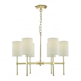 Klemens 6 Light Multi-Arm Ceiling Pendant in Gold Finish Complete with Cream Cotton Shades