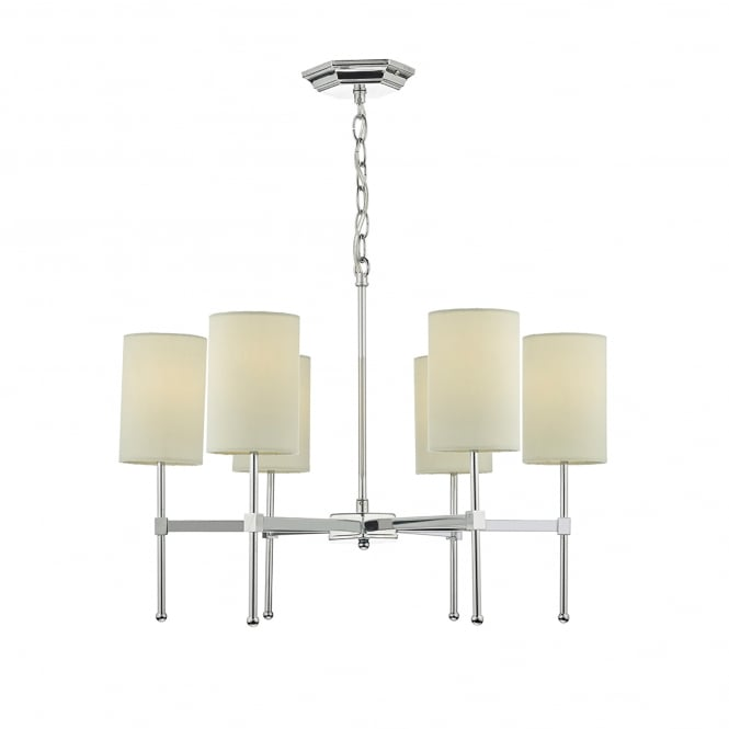 Dar Lighting Klemens 6 Light Multi Arm Ceiling Pendant In Polished Chrome Finish Complete with Cream Shades