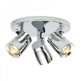 Knight 3 Light Bathroom Ceiling Spot Light Fitting In Polished Chrome Finish